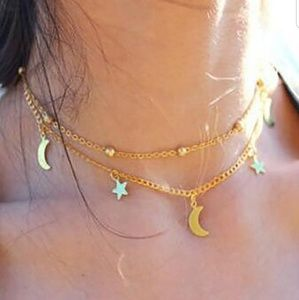 Moon & Stars Delicate Gold Pendant Necklace